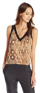Anne Klein Snakeskin Animal Print Top Brown