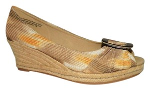 Naturalizer Fabric Brown Espadrille Brown, Tan & Orange Wedges