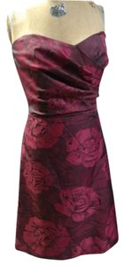 Alfred Sung Tea Length Strapless Dupioni Red Dress