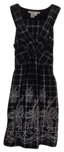 Studio M short dress black and off-white plaid Embroidered 100% Cotton on Tradesy