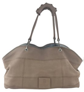 Brunello Cucinelli Leather Silver Hardware Logo Shoulder Bag