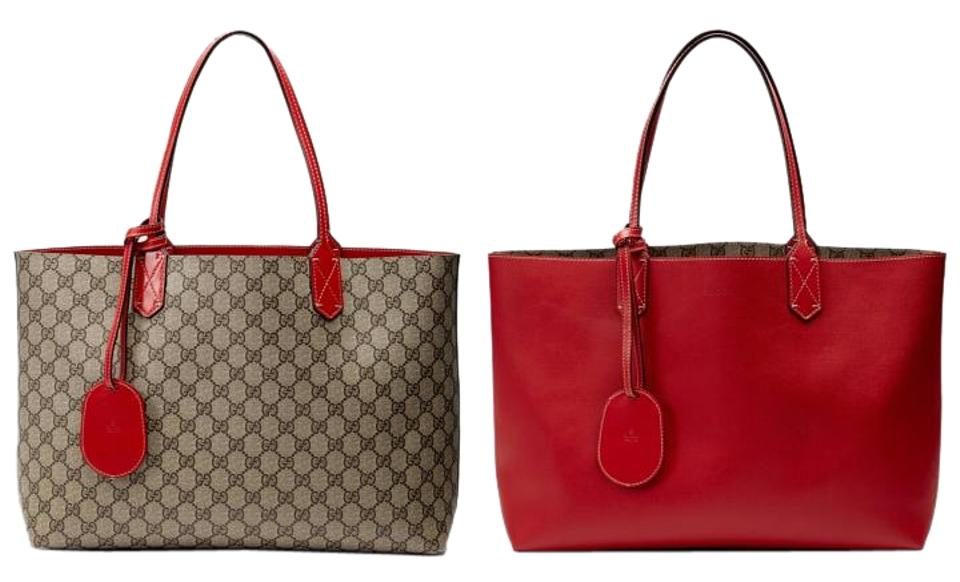 0194d7fa5bee1d Gucci Reversible Classic Leather Logo Tote in Red, Brown Image 0 ...