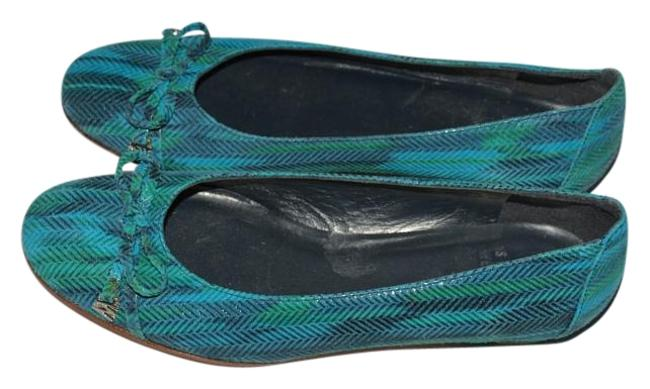 Item - Green/Blue Leather Green/Blue Pumps Size US 7 Narrow (Aa, N)