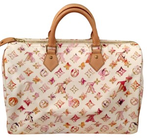 Louis Vuitton Watercolor Limited Edition Satchel in White