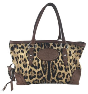 Dolce&Gabbana Animal Print Leather Canvas Silver Hardware Shoulder Bag