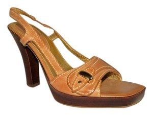 Cole Haan Leather Slingback Tan Platforms