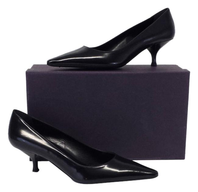 Item - Black Calzature Donna Pointed Toe Kitten Heels Formal Shoes Size US 8.5