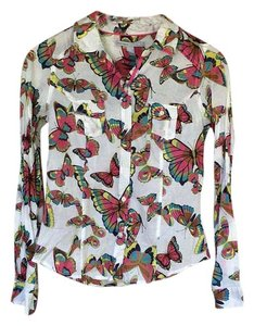 Old Navy Button Down Shirt White with butterfly print.