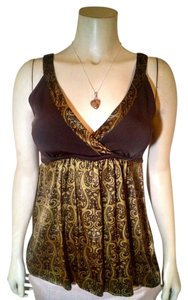 bebe Sleeveless Silk Top Green, brown