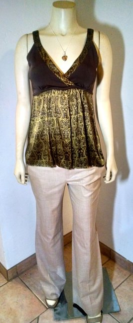 bebe Silk Size Small P1071 Top Green, brown