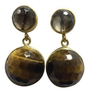 Tigers Eye and Clear Quartz Post Earrings