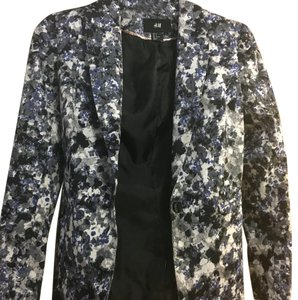 H&M Blazer Officewear Floral, blue, black, white Jacket