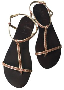 J.Crew Studded Skinny Straps Brown and Gold Sandals