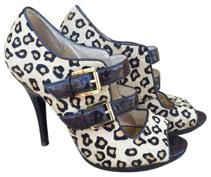 Michael Kors Leopard Calf Hair Open Toe Buckles Brown Pumps