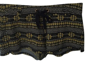 Juicy Couture Gold Pattern Elastic Mini/Short Shorts Yellow and Black