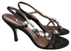 Nina Shoes Satin Jeweled Gems Evening Formal Black Sandals