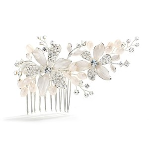 Mariell Brushed Silver Floral Wedding Comb With Freshwater Pearls & Crystals 3578hc