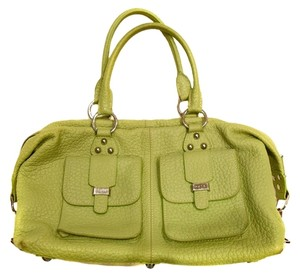 Rafe Pebbled Leather Leather Silver Satchel in Chartreuse Green