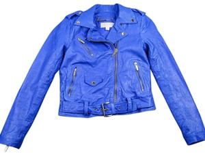 Michael Kors Cropped Leather Blue Leather Jacket