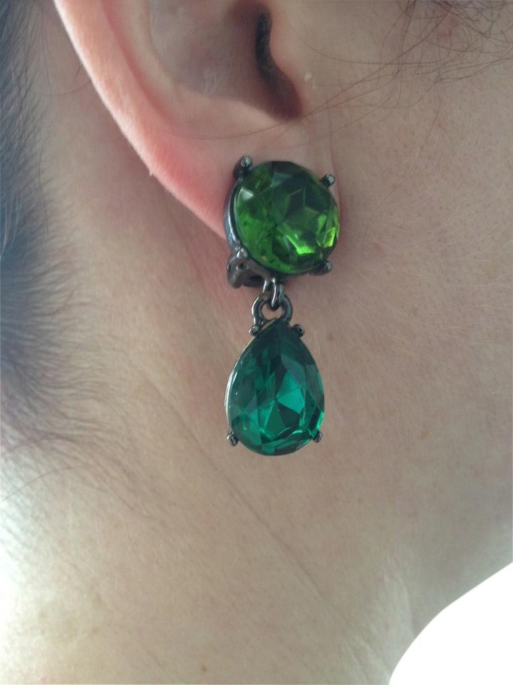 Oscar De La A Green Faceted Crystal Emerald Drop Earrings Clip