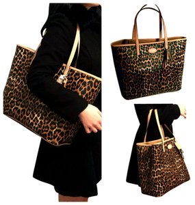 Coach New Park Metro Large Ocelot Leopard Cheetah Handbag Shoulder Purse Leather Saffiano Animal Print Tote in Multi