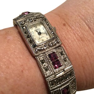 Lavoni Quartz Amethyst and Onyx Marcasite silver watch with mother of pearl face. Marcasite And Jeweled Watch