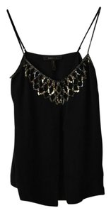 BCBGMAXAZRIA Top Black with metallic sequins