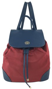 Tory Burch Leather Nylon Gold Hardware Backpack