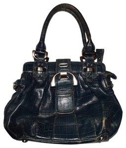 B. Makowsky Blue Large Silver Hardware Embossed Leather Handbag Satchel in Dark Blue