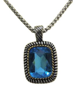 Emma Skye Emma Skye Jewelry Designs Blue Crystal Two-Tone Pendant with Chain 18