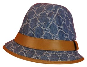 Gucci GUCCISSIMA GG JACQUARD DENIM BLUE LEATHER FEDORA BUCKET HAT DUST BAG S