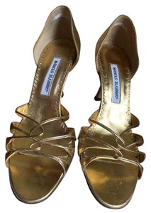 Manolo Blahnik Metallic Pump Gold Sandals