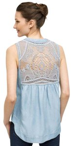 Anthropologie Chambray Scoop An Denim Lace Top demin