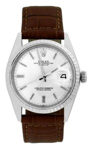 Rolex Rolex Datejust Stainless Steel with Silver Dial on Brown Leather Band