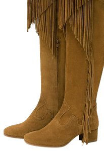 Zara Fringe Real Leather brown Boots