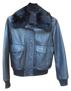 Theory Leather Bomber Rabbit Fur Leather Jacket