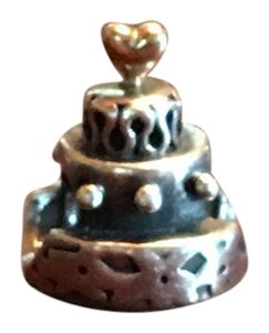 PANDORA Authentic Retired Pandora 925 Silver & 14K Celebration Wedding Cake Bead Charm 790347