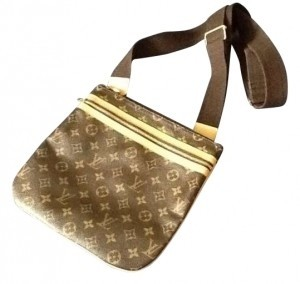 Louis Vuitton Leather Lv Monogram brown and tan Messenger Bag
