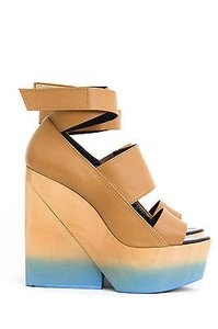 Pierre Hardy Blue Tan Ombre Leather Cut Out Wood Wedge Heel Sandals 101141 Beige Platforms
