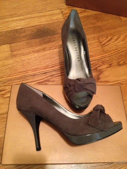Audrey Brooke Peep Toe Suede Marian Gray Pumps