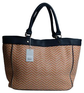 deux lux Faux Leather Tote in Navy Orange Cream