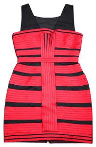 BCBGMAXAZRIA Red Black Pleated Dress