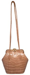 Judith Leiber Alligator Tan Alligator Framed Shoulder Bag