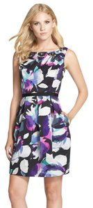 Eliza J short dress Blue Purple Black Floral Wedding Guest Eliza Sheath Watercolor Summer on Tradesy