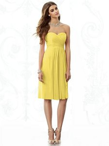 After Six Sunflower Yellow Chiffon 6695 Feminine Bridesmaid/Mob Dress Size 8 (M)