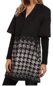 Tahari Wool Herringbone Knit Hook-eye Pea Coat