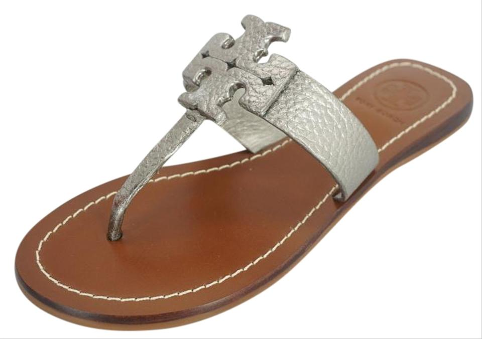 f69645b9c5a4 Tory Burch Silver T Leather Moore Logo Sandals Size US 5 Regular (M ...