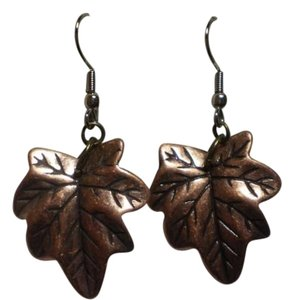 Handmade New Bronzetone leaf earrings