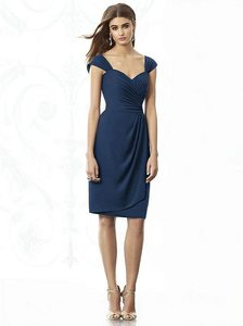 After Six Midnight Navy Nu-georgette 6687 Modern Bridesmaid/Mob Dress Size 10 (M)
