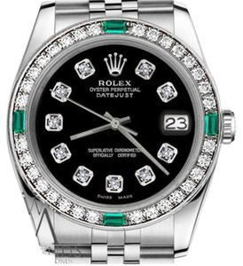 Rolex Rolex 36mm Datejust Black Stainless Steel Emerald Diamond AccentWatch